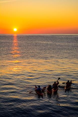 Early morning kayaks in Costa Brava, Spain